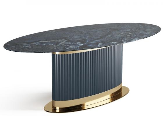 Mesa de comedor con tapa fija de mármol. Mod: MONSIEUR