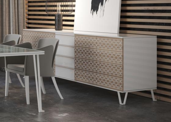 Aparador de diseño en acabado madera y lacado. Mod: POSITANO