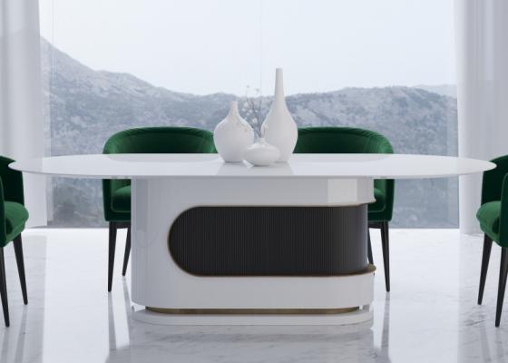 Mesa de comedor de diseño fija y lacada en alto brillo. Mod: BARUS