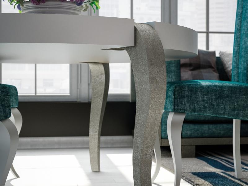Mesa redonda con tapa y patas lacadas.Mod: DAMME