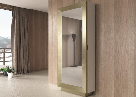 Zapatero columna con espejo y lacado. Mod: ANTHEA