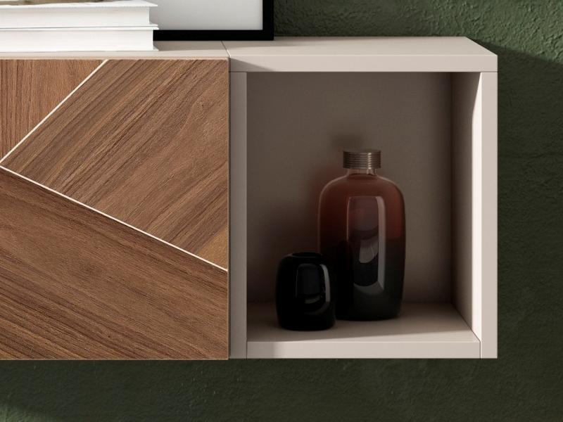 Consola lacada con hueco y puerta abatible con frente en madera de nogal americano. Mod: ANNE