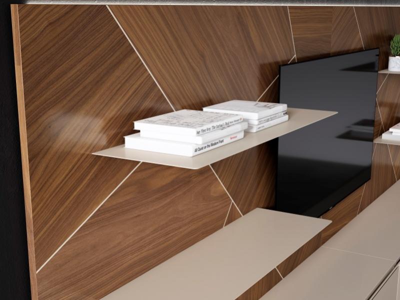 Composici�n modular lacada y madera de nogal americano con luz led. Mod: LUCILE