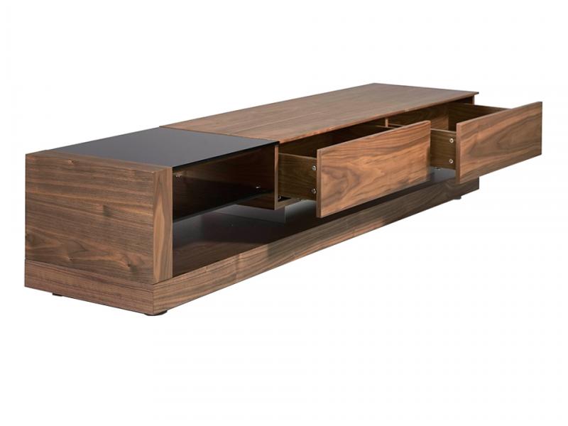 Mueble TV nogal y cristal tintado negro.Mod: CASCAES