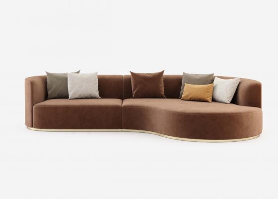 Sofá de diseño con chaise longue y bases en acero inoxidable. Mod: MANAROLA