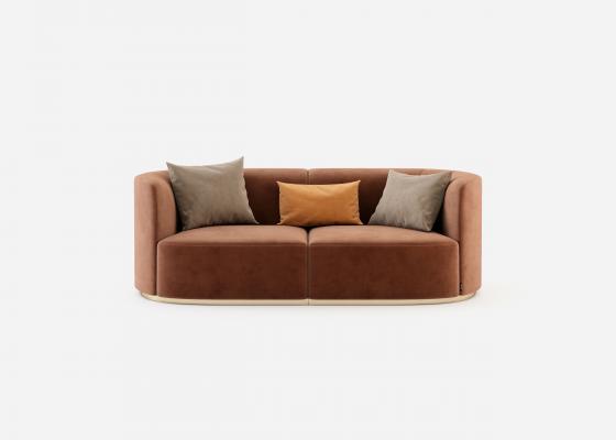 Sofá de diseño con base en acero inoxidable. MANAROLA 2P