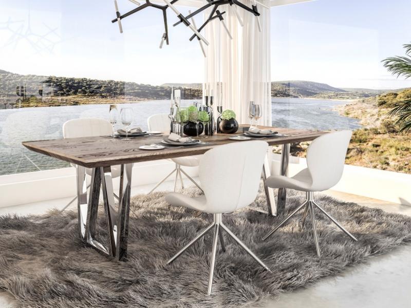 Mesa de comedor fija en madera de roble y patas en acero inox.Mod: LINDAU