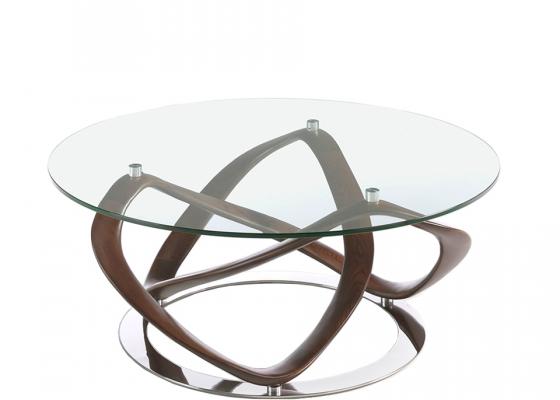 Mesa de centro redonda con cristal y base madera maciza. Mod: DAMA