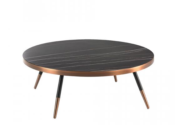 Mesa de centro redonda con tapa porcelánico mármol y acero.Mod: RIGA