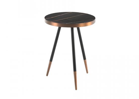 Mesa de rincón redonda con tapa porcelánico mármol y acero.Mod: RIGA
