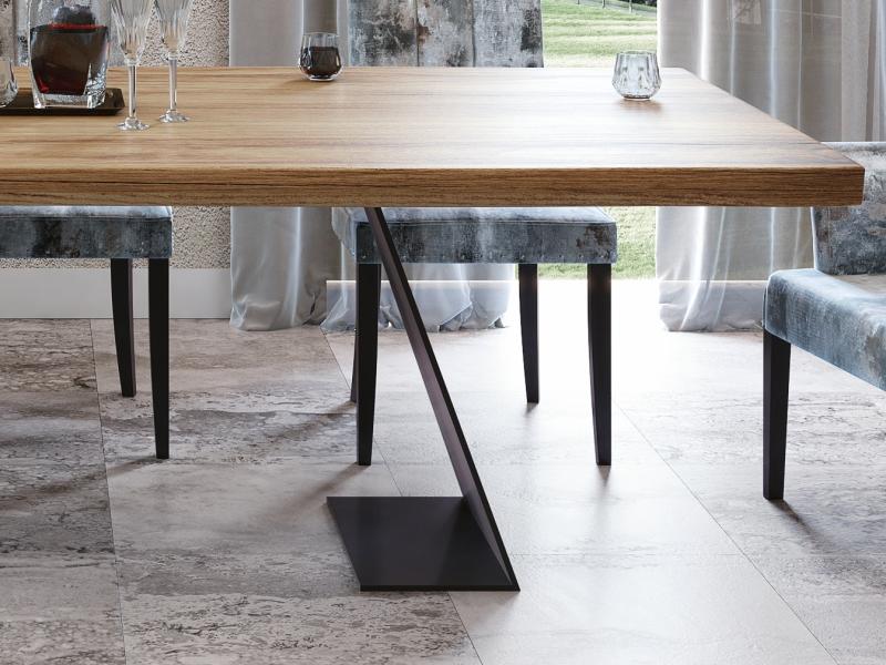 Mesa de comedor fija con tapa de madera de fresno. Mod: ARANS