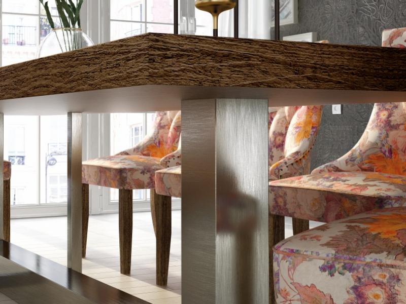 Mesa de comedor fija con tapa de madera de fresno. Mod: OSTENDE FRESNO