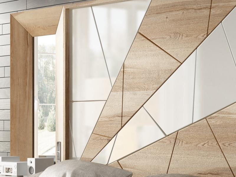 Cabecero en roble y lacado con espejos laterales y mesitas de 1 caj�n . Mod: AMAL