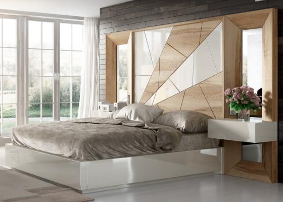 Cama completa en roble , detalles lacados ,espejos laterales y mesitas de 1 caj�n. Mod: AMAL