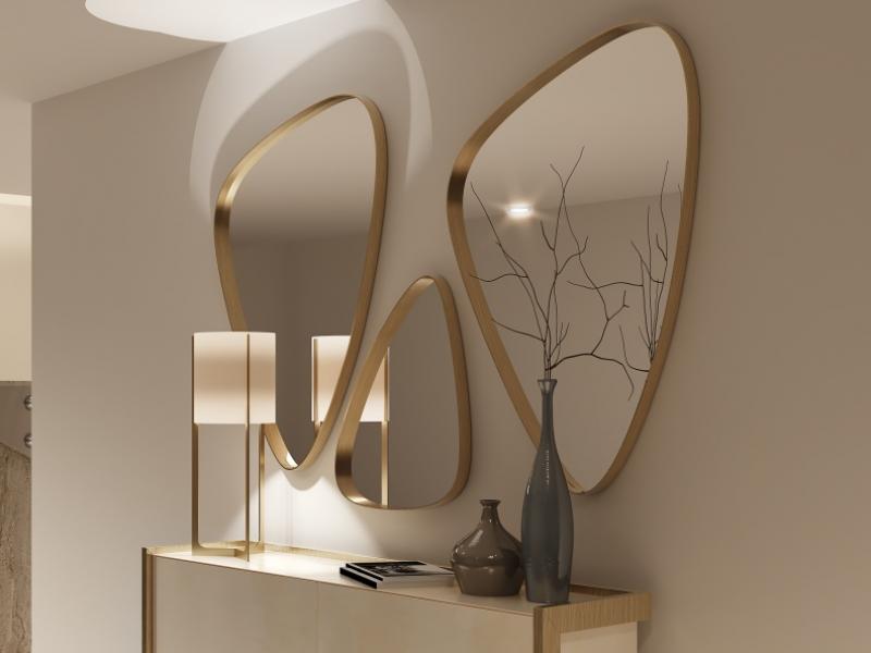 Conjunto de 3 espejos met�licos.Mod: PIERRES
