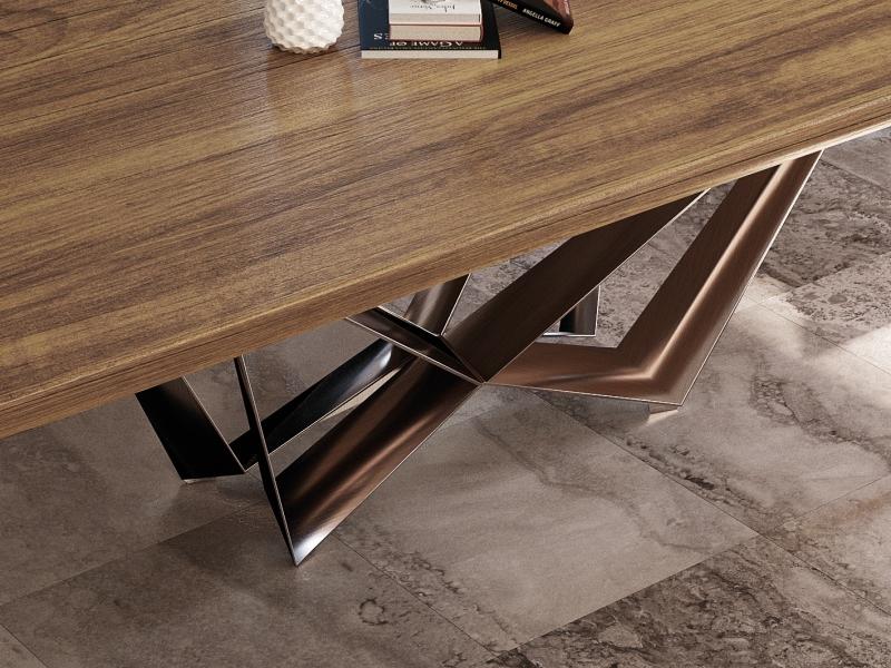 Mesa de comedor fija con tapa de madera de fresno. Mod: MONTONE FRESNO