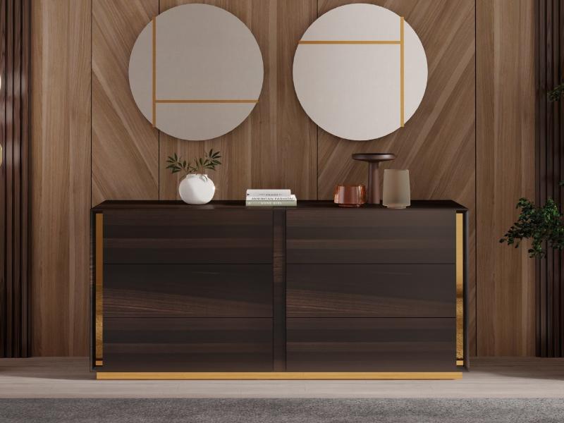 C�moda de 6 cajones en madera con detalles en acero inoxidable.Mod: BISMA