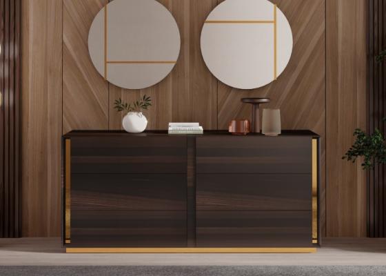 Cómoda de 6 cajones en madera con detalles en acero inoxidable.Mod: BISMA
