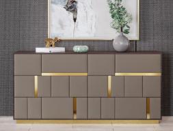 Cómoda de 6 cajones en madera de nogal con frentes de cajones  tapizados.Mod: SALMA