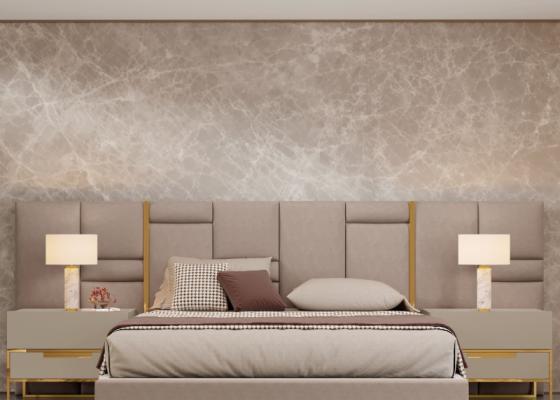 Cabecero largo tapizado con detalles en acero inox. Mod: ABIR