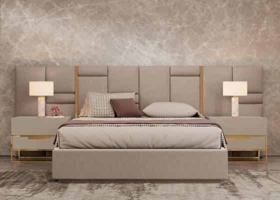 Cama completa tapizada con detalles en acero inox. Mod: ABIR