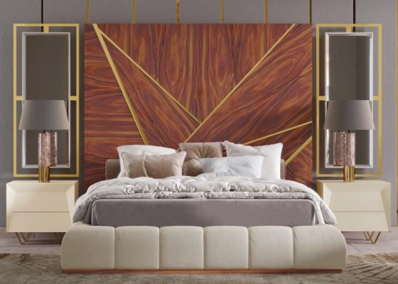 Cama completa  XXL tapizada con cabecero de madera , detalles en acero inox y espejos laterales.Mod: ZURAH