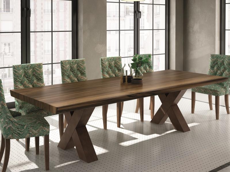 Mesa de comedor fija con tapa de madera de fresno. Mod: TAVOLARA