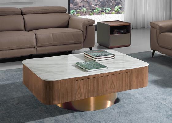 Mesa de centro en nogal con tapa porcel�nica y base cromada.Mod: ROTONDE B